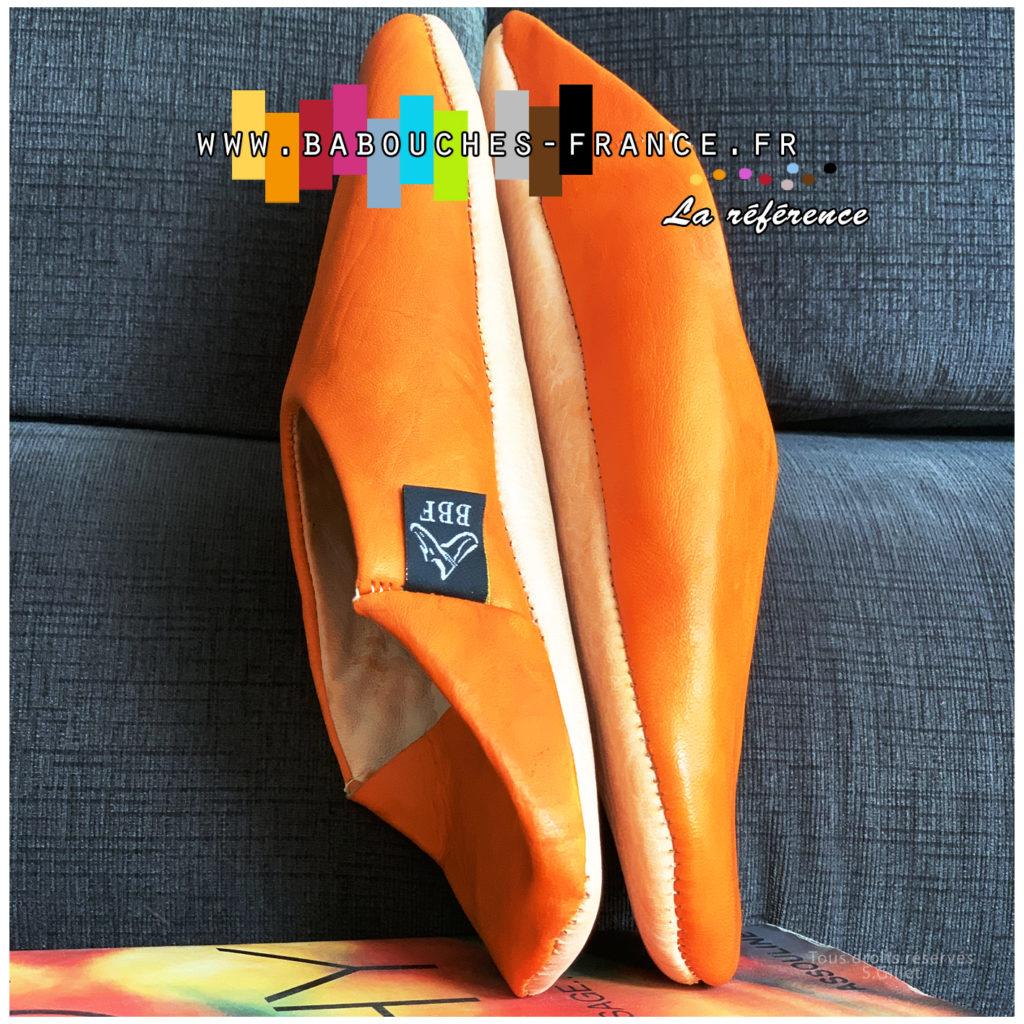 babouche cuir orange