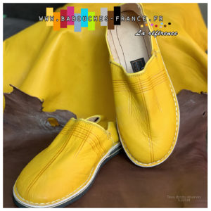 Babouche cuir jaune