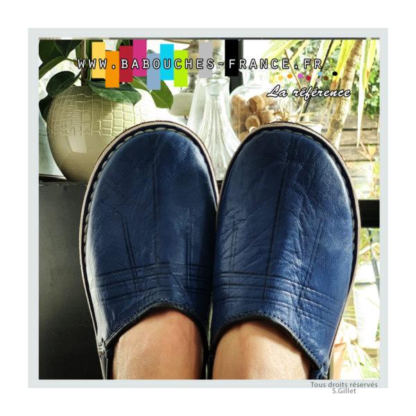 Babouche Dambira bleue jean's