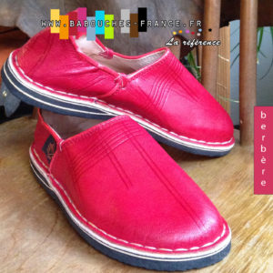 Babouche homme cuir rouge
