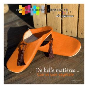 chausson de cuir orange