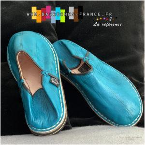 Babouche marocaine à bour rond Turquoise