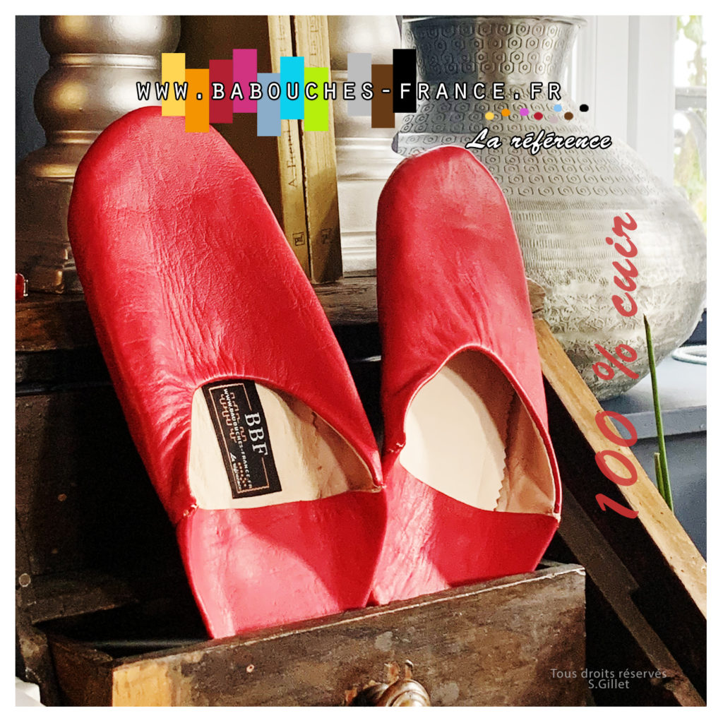 chausson cuir rouge
