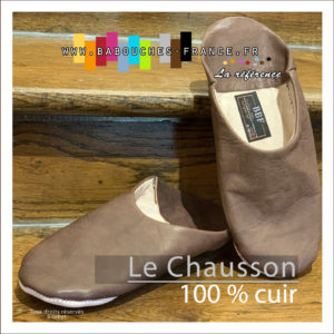 chausson cuir homme